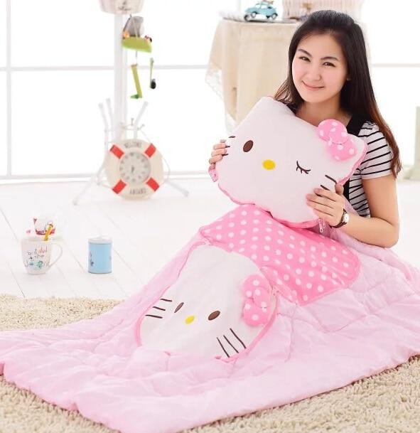 415c56cda576 Plush blanket 1pc 150cm cartoon hello kitty cat air conditioning car rest  round cushion stuffed toy