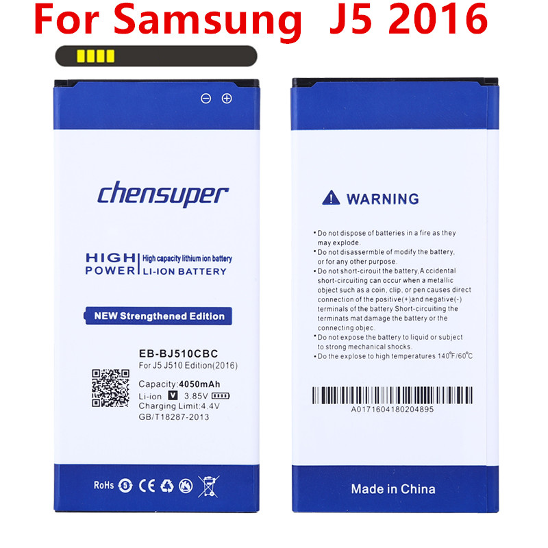 NEW 4050mAh EB-BJ510CBC Li-ion Phone <font><b>Battery</b></font> for <font><b>Samsung</b></font> Galaxy J5 2016 Edition j5109 j5108 <font><b>J510</b></font> <font><b>battery</b></font> image