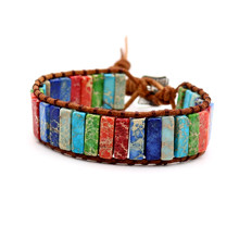 Chakra Bracelets Regalite Natural Stones Handmade Leather Wrap Couple Yoga Jewelry(China)