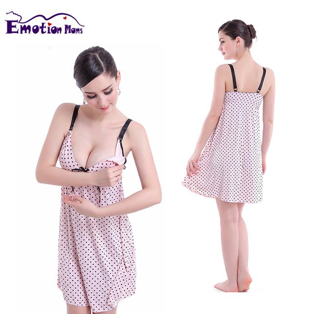 Emoção As Mães de Enfermagem da Maternidade Roupas Amamentação camisola Sem Mangas Maternidade Vestidos para mulheres grávidas Camisola