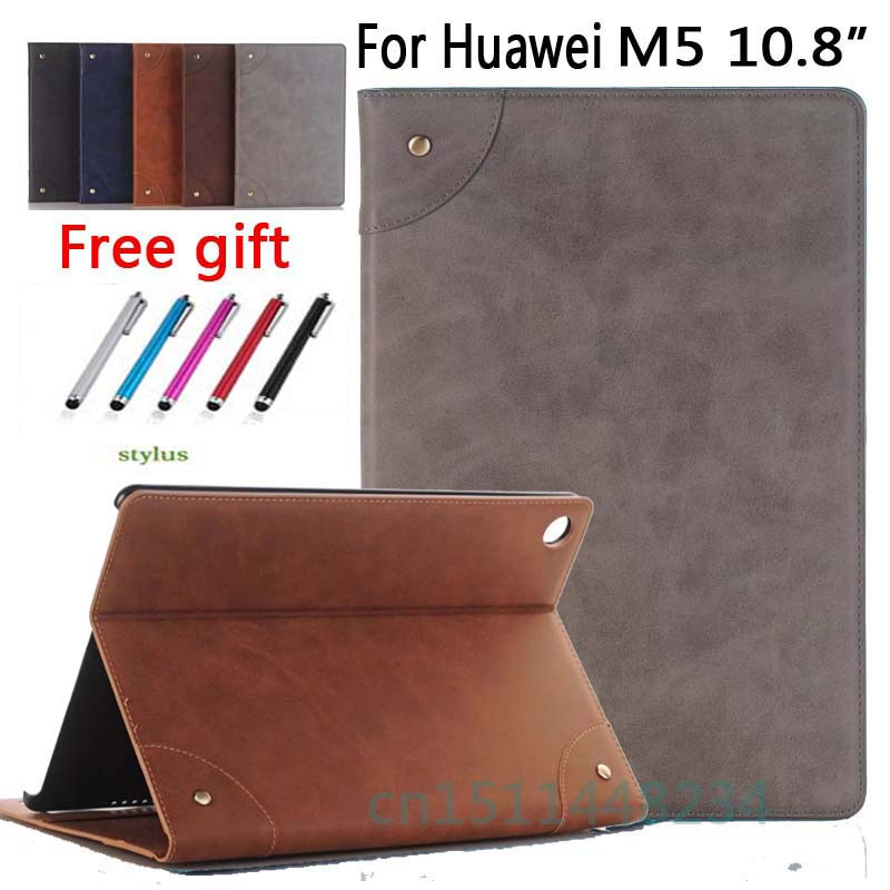 high quality Rivets Retro book PU Leather Case For Huawei MediaPad M5 10 Pro/M 5 10.8 inch Wallet card slot magnetic smart Cover silicone with bracket flat case for huawei mediapad m5 8 4 inch