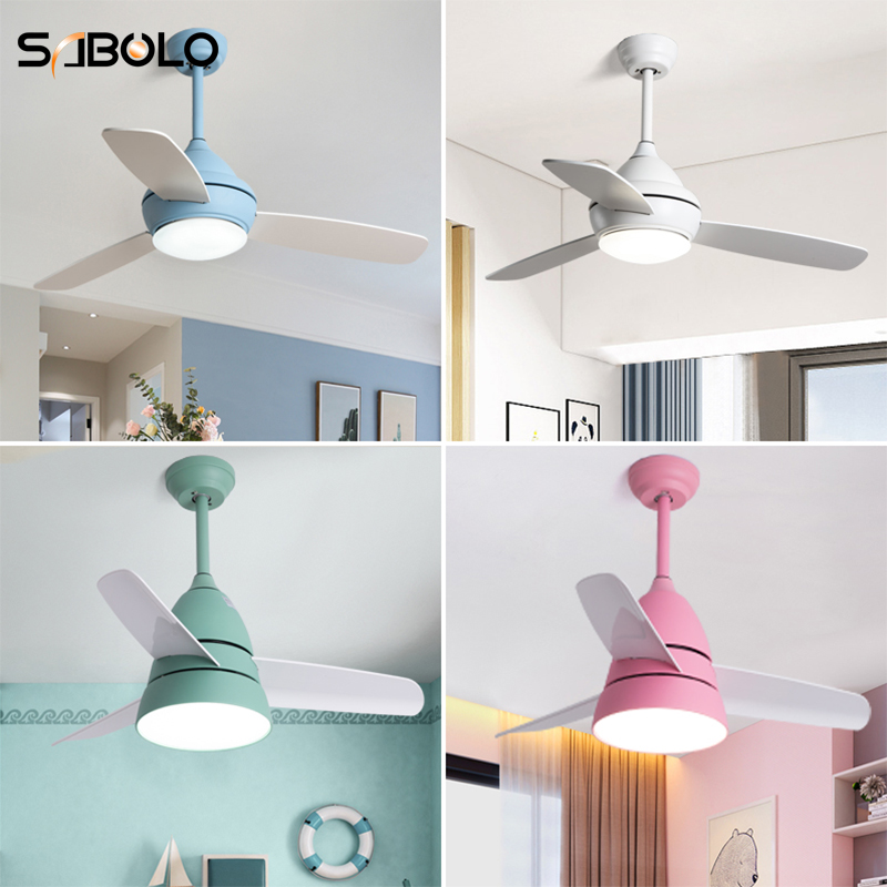 US $194.83 22% OFF|LED Ceiling Fan 18W Nordic Ceiling Fans With Lights For  Dining Room Living Room Children\'s Room Ceiling Fan With Remote Control-in  ...