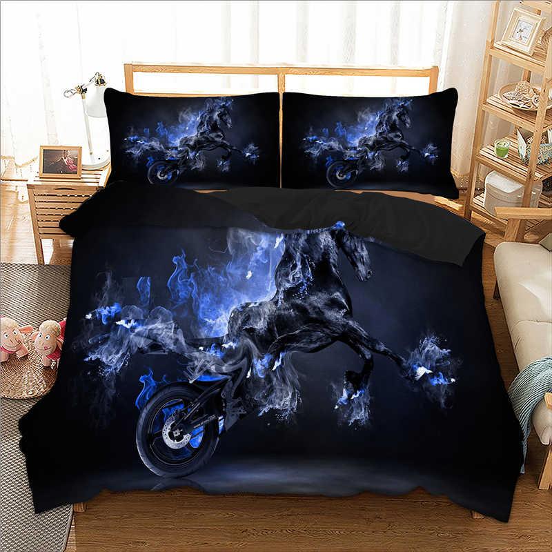 Black Horse printed 3D pattern Bedding Set Twin Full Queen King Sizes duvet cover set black horse polyester Bed Lines set 3pcs