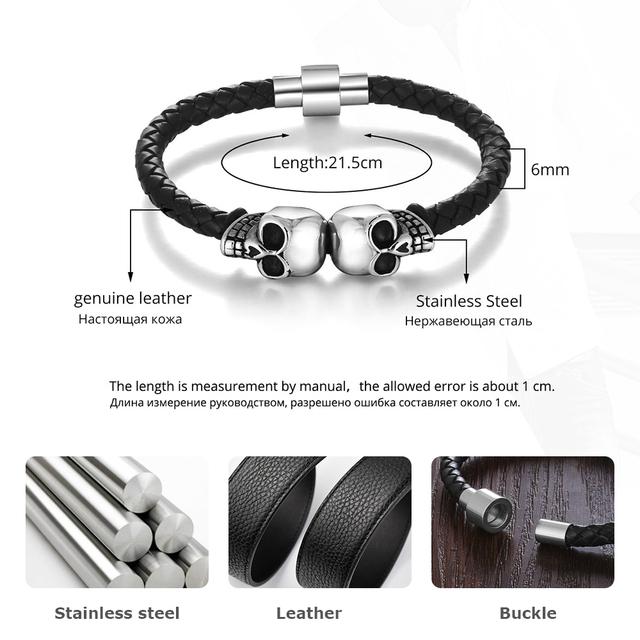 Genuine Leather Skeleton Skull Stainless Steel Bracelets & Bangles Rock Jewelry Men's Bracelet Gift For Boy (JewelOra BA101284)