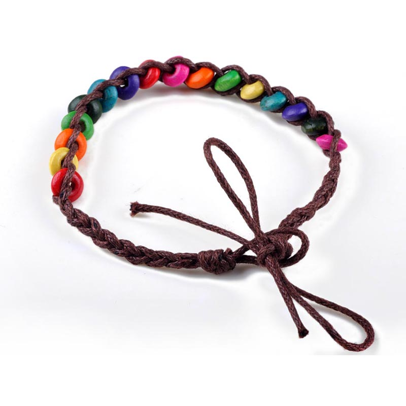 1pc Wholesale Wood Beads Weave Rope String Friendship Bracelets Handmade Charm Strand Bangle Jewelry bead