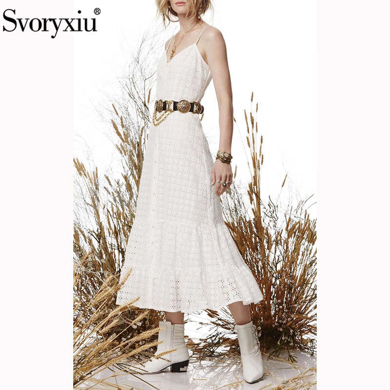 Svoryxiu 2019 Hollow Out Embroidery Bodycon Cotton White Dress Sexy V Neck Beach Holiday Spaghetti Strap