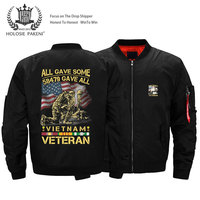 Dropshipping USA Size Unisex Men Vietnam Veterans Printed Flight MA 1 Jacket Bomber Jacket Motorcycle jacket Coat