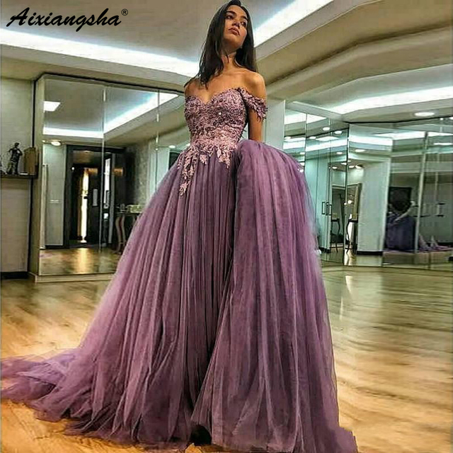Off The Shoulder Prom Dresses Party 2019 A-line Tulle Islamic Dubai Kaftan Saudi Arabic Long Formal Dress Purple Evening Gown