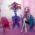 One Set Original Dollhouse Toy Furniture Sun Umbrella Couch Table Cafe Chair Sets 1/6 Scale For Monster High Dolls
