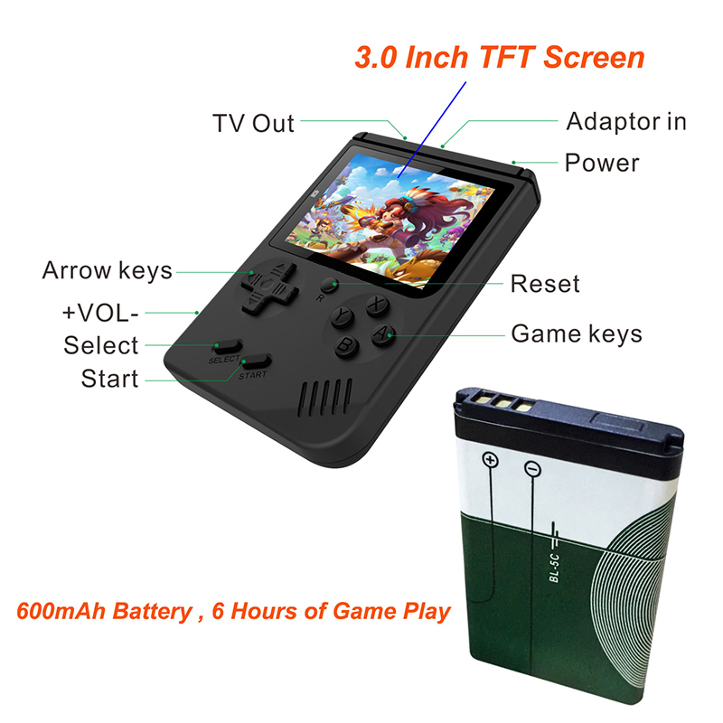 Image 5 - Coolbaby Retro Mini 2 Rs 6A Handheld Game Console Emulator Built In 168 Games Video Games Handheld Console(Black)-in Handheld Game Players from Consumer Electronics