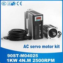 1 компл. ac сервомотор 90ST-M04025 серводвигателя 1KW 2500 ОБ./МИН. серводвигатель переменного тока