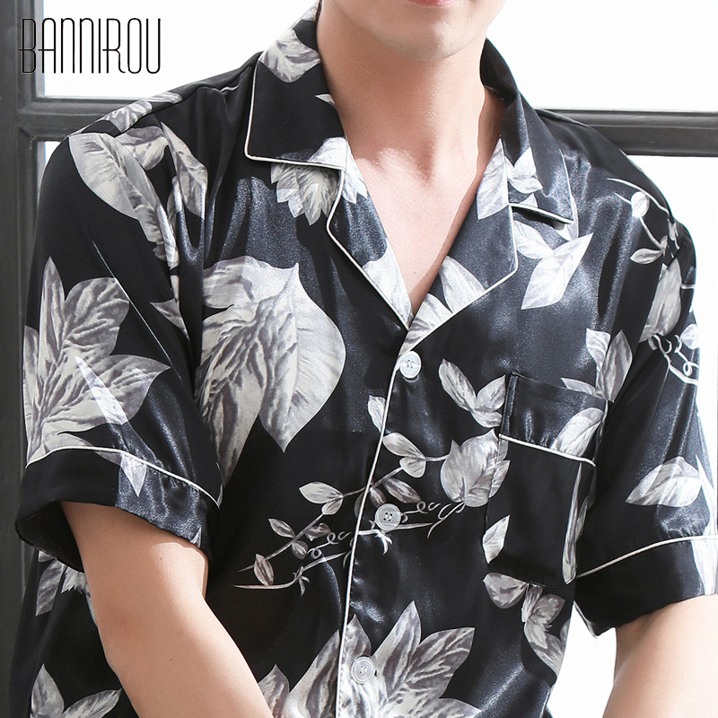 Man Pajamas Set Summer Short Button Print Leaves Simple Black Thin Fashion Male Pyjamas Home Suit Sleep Wear For Man L-XXXL 2018