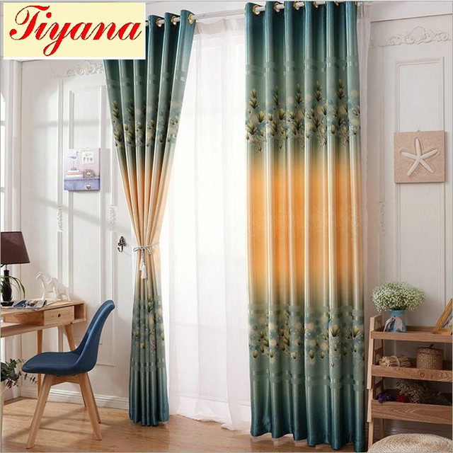 Window Curtain Living Room Modern Home Goods Treatments Polyester Printed Green Curtains For Bedroom Eyelets