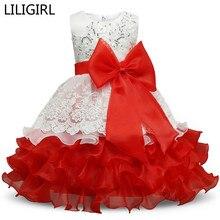 Baby Girl Christening Wedding Gown Dress Clothes Big Bow Blue Dress Wedding Gown Birthday Party Dress Fluffy Vestido Infantil
