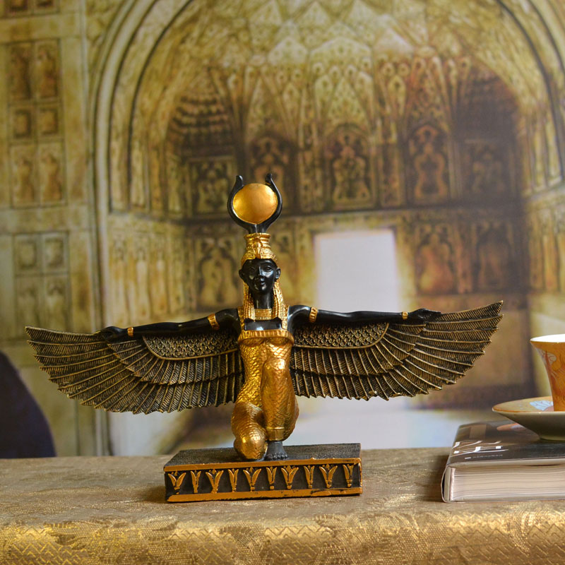 Isis Sun Goddess Ancient Egypt Wings Isis Statue Decoration Figuriens Tourism Souvenir Statue Patron Saint Decoration Craft Gift