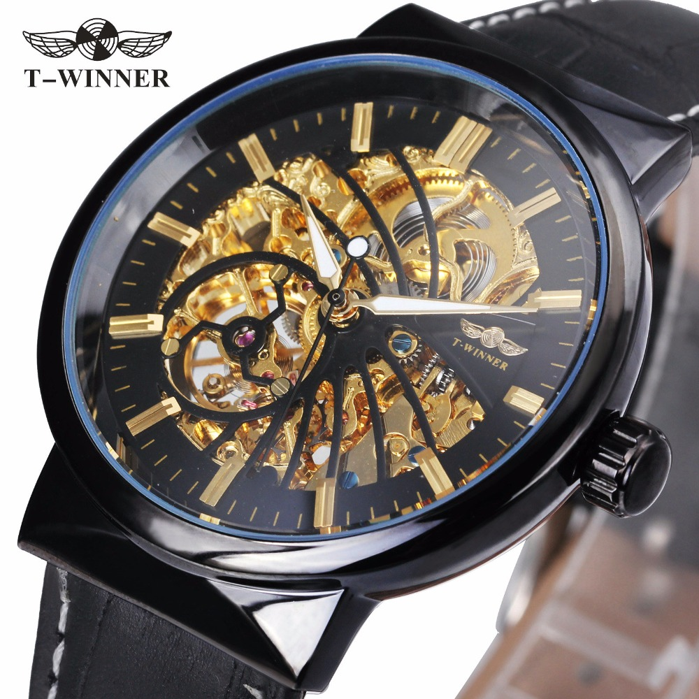 WINNER Classic Golden Men Auto Mechanical Watch Black Leather Strap Skeleton Dial Top Brand Fashion Design  Casual Wristwatch колготки quelle infinity kids 1006208