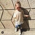 Ins * 2016 новорожденных девочек осень вязаный свитер платье кружева границы дети моды верхней одежды 2-7Y Мама дочь ткани высокого качество