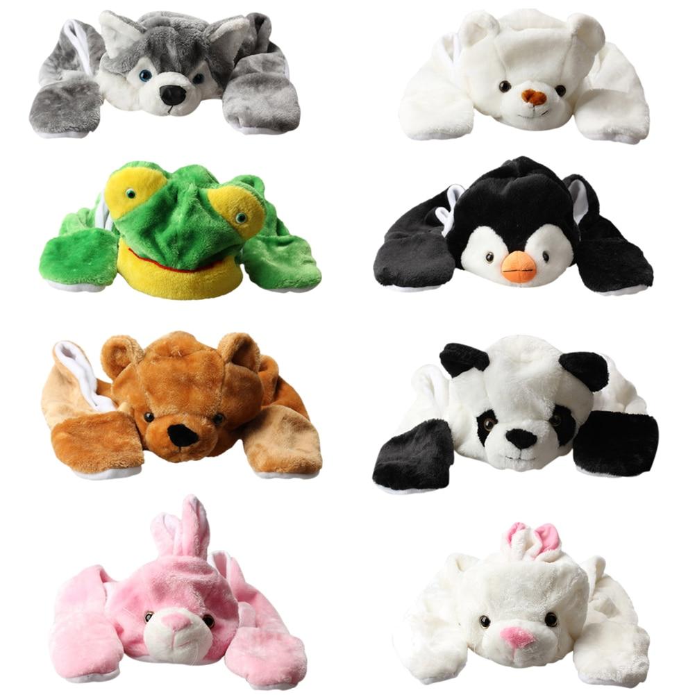 2017 Cute Cartoon Animal Bear Panda Cartoon Kids Adult Hats Ears Plush Warm Cap Hat Earmuff Scarf Gloves FS99