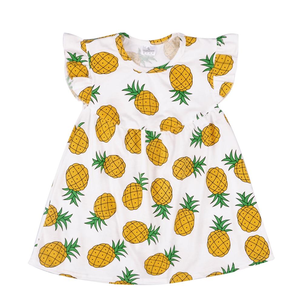 Hot Sale New Design Baby Girls Pineapple Pattern Lovely Dress Flutter Sleeve Boutique Remake Summer Children Dress LYQ805-165