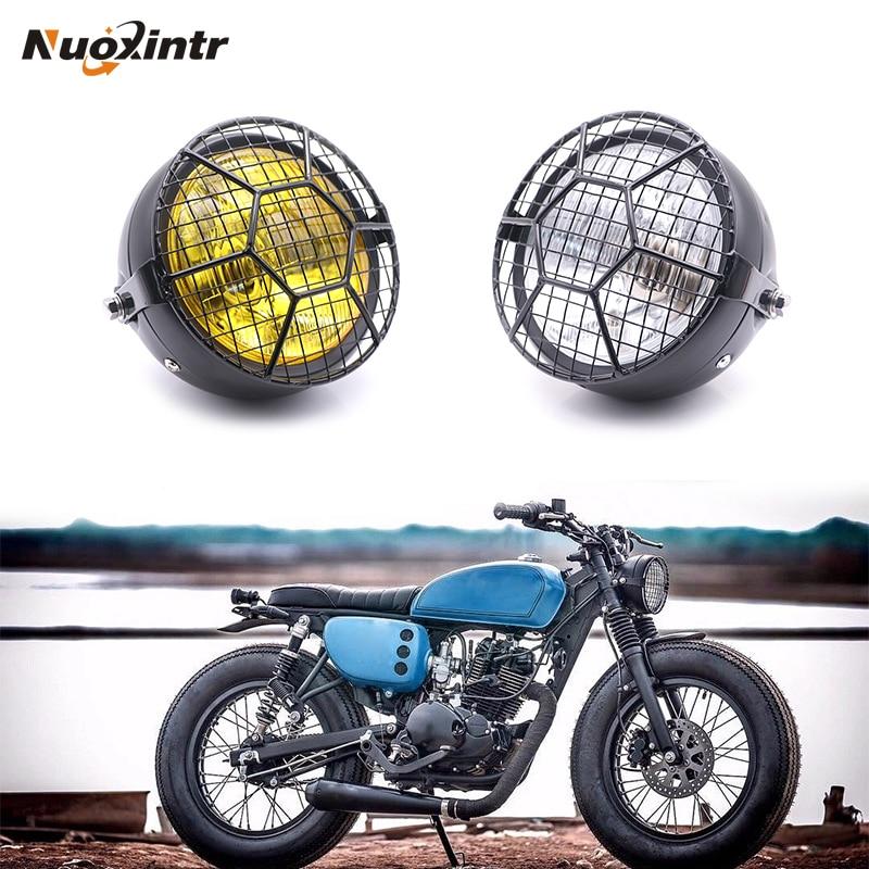 Motorcycle  Black Metal Headlight Headlamp Round For Honda CG125 CB125S