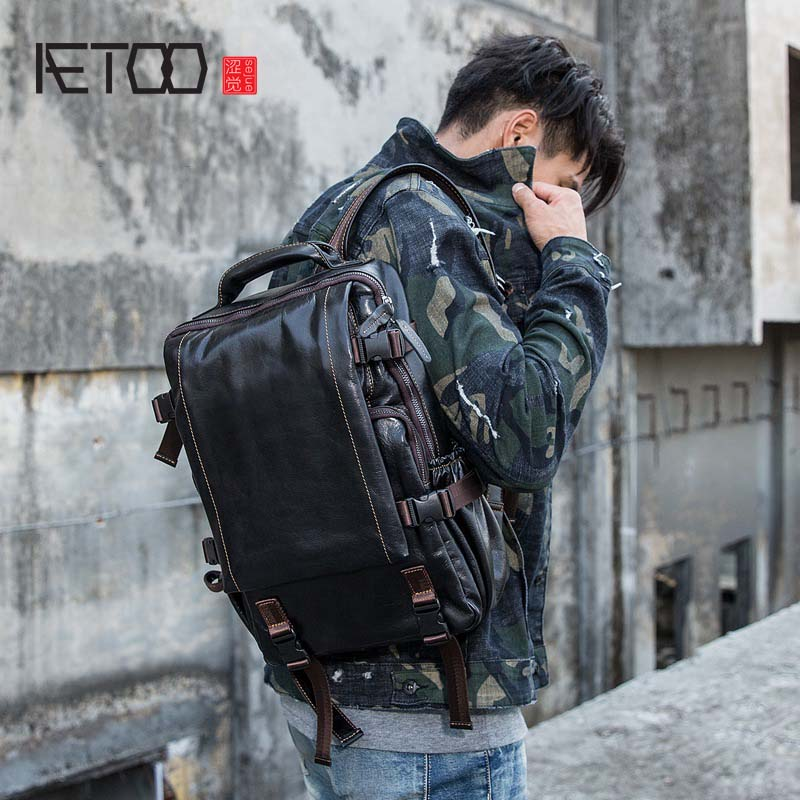 AETOO Backpack first layer cowhide large capacity computer bag leisure travel bag original real leather mens backpackAETOO Backpack first layer cowhide large capacity computer bag leisure travel bag original real leather mens backpack
