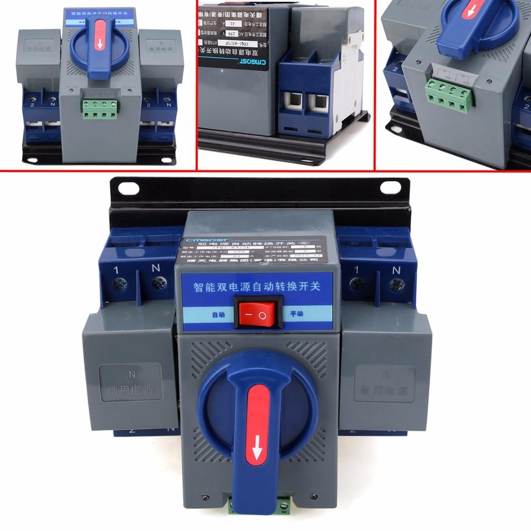 1pc 63A 2P 50HZ/60HZ Dual Power Automatic Transfer Switch 150mmx137mmx118mm CB Level tp760 765 hz d7 0 1221a