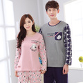 Couple pajamas set 2017 Spring pyjamas set men women pajamas 100% cotton long-sleeve sleepwear ladies night wear home clothing