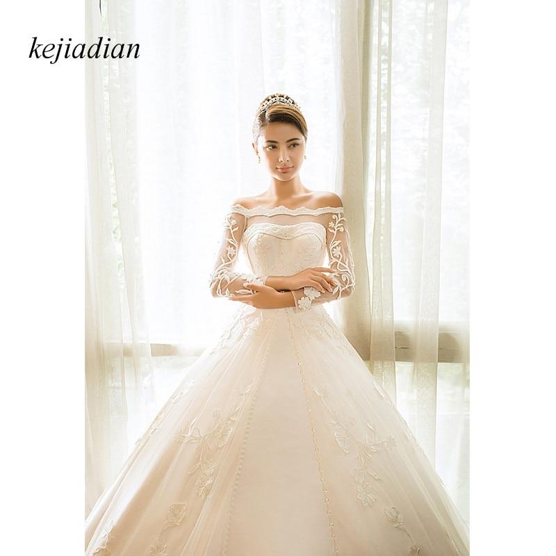 Satin Wedding Dress 2019: White Lace Satin Wedding Dress Ball Gown 2019 Boat Neck
