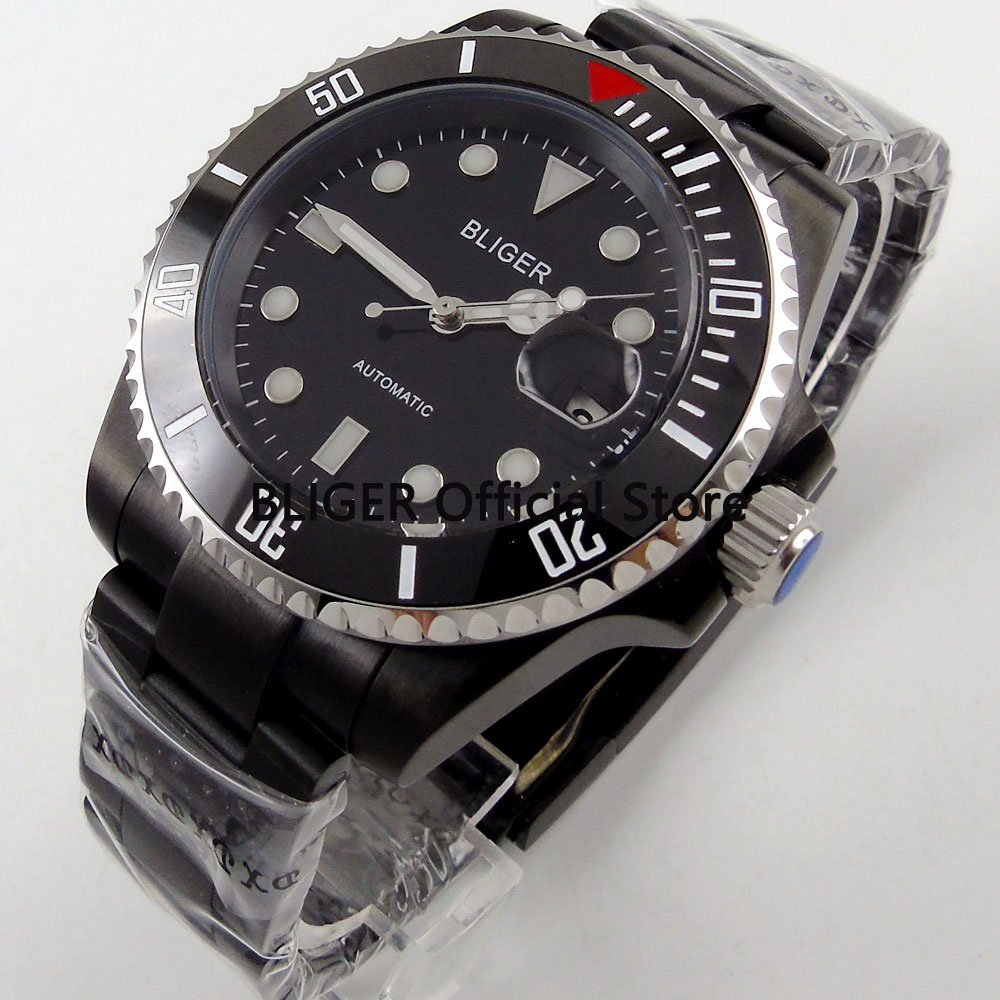 цены BLIGER 40mm Black Dial Ceramic Rotating Bezel Luminous Marks Sapphire Glass PVD Coated Case Automatic Movement Men's Watch B4