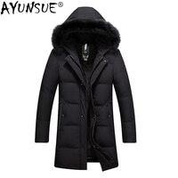 AYUNSUE зимняя куртка мужское длинное пальто утка вниз куртка мужская 2019 Толстая мужская куртка и пальто с капюшоном меховой воротник ZL8918 KJ868