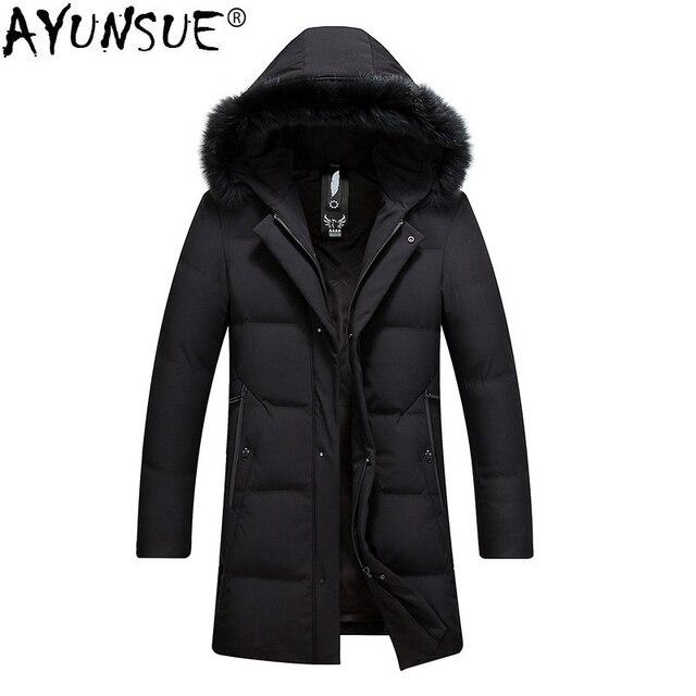 79e6c1c43 US $104.55 49% OFF|AYUNSUE Winter Jacket Men Long Coat Duck Down Jacket Men  Clothes 2018 Thick Men's Jackets and Coats Hooded Fur Collar KJ868-in Down  ...