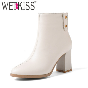 WETKISS Winter Cow Leather Women Ankle Boot Pointed Toe Footwear High Heels Female Boot Zip Shoes Woman 2018 Plus Size 32-45