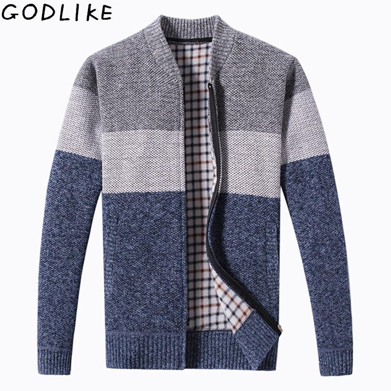2019 Autumn Winter Men's Sweater Coat Faux Fur Wool Sweater Jackets Men Zipper Knitted Thick Coat Warm Casual Knitwear