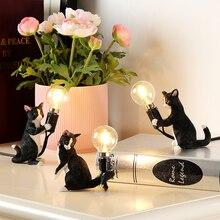 Арт белый черный серый Кот Китти настольная лампа ЕС/США штекер маленький настольная лампа для животных огни детский подарок комнаты; декор ночник