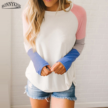 RONNYKISE Stitching Color Long Sleeve T-shirts Women Fashionm Casual Cotton Tops Spring Autumn Loose T-shirt