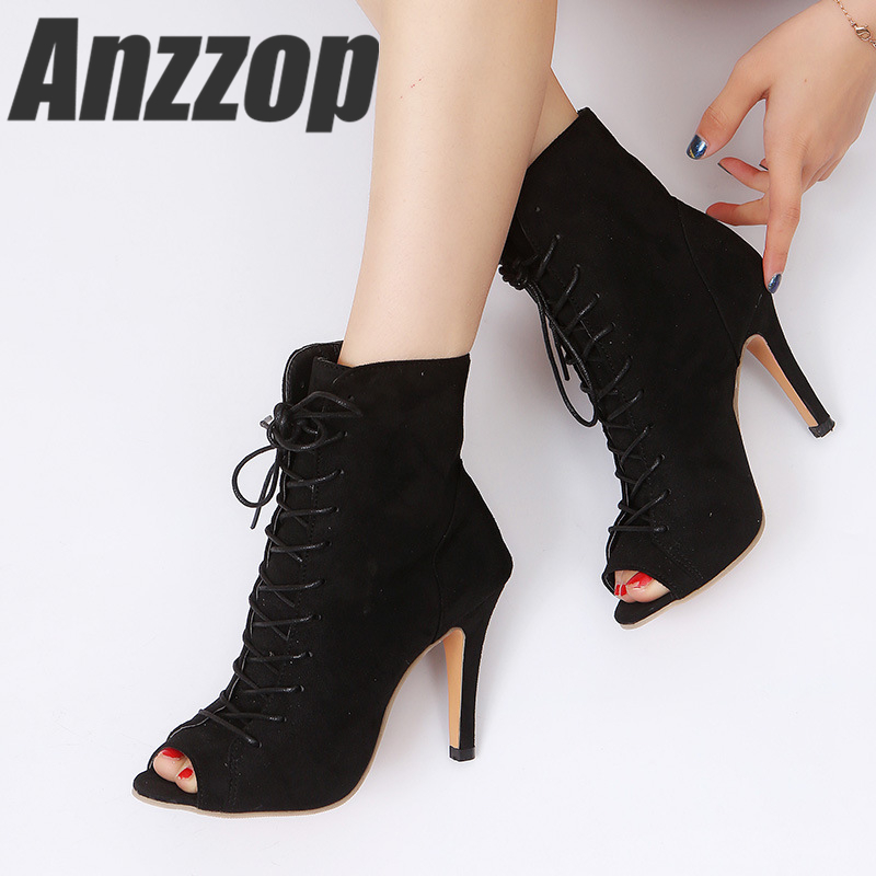 ANZZOP 2019 New Women's Fashion Banquet Roman Lace-up Sandals Stiletto Fish Mouth Super High-heeled Large Size Summer Sandals