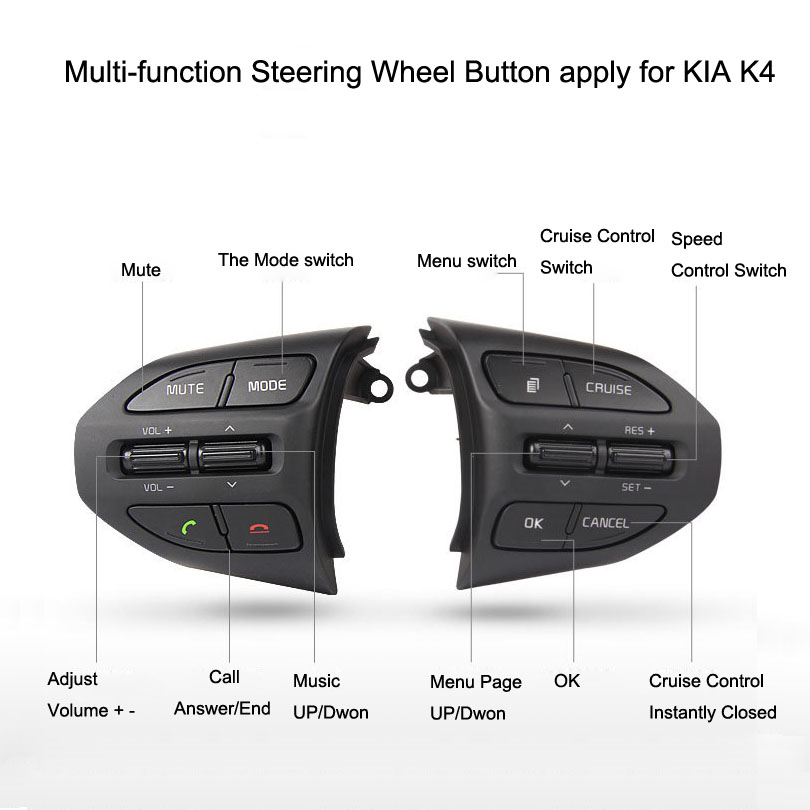 Multi-function Steering Wheel Remote Control Buttons apply for KIA K4 картридж brother lc525xly yellow для dcp j100 j105 j200
