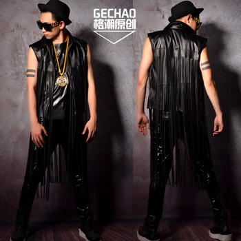 M-XXL ! Super long PU tassel black locomotive vest tide male hairdressing star nightclub bar singer DJDS performance costumes