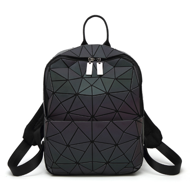 8657ef7632 2019 New Bao Luminous Backpacks Female Fashion Women Backpack Geometry  Package triangle Sequins Folding Bao School Bags-in Backpacks from Luggage    Bags on ...