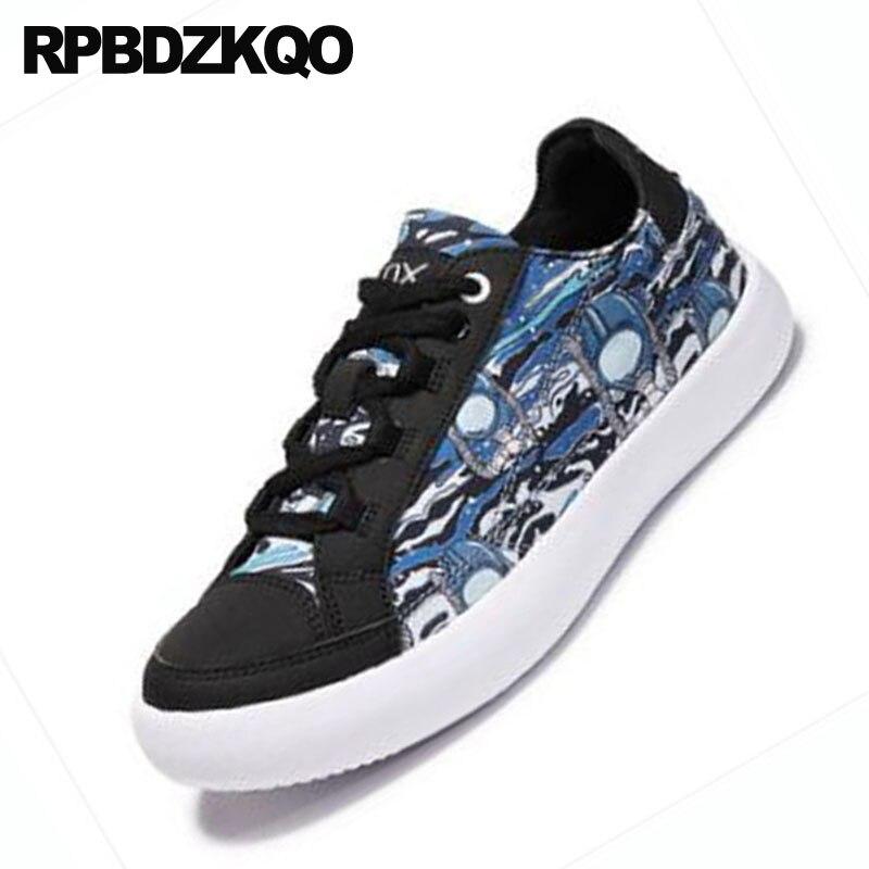 Pista Entrenadores Lona Hombres Marca Zapatillas Alta Skate Lujo Tamaño Calidad Impreso Más Zapatos De Blue Azul Pisos 2018 Diseñador Ox5fRW4nqg