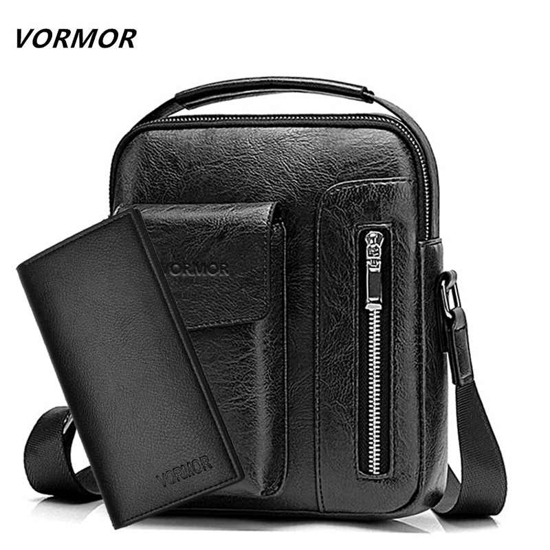 5ae23d9bda VORMOR Vintage Messenger Bag Men Shoulder bags Pu Leather Crossbody Bags  For Men Bags Retro Zipper