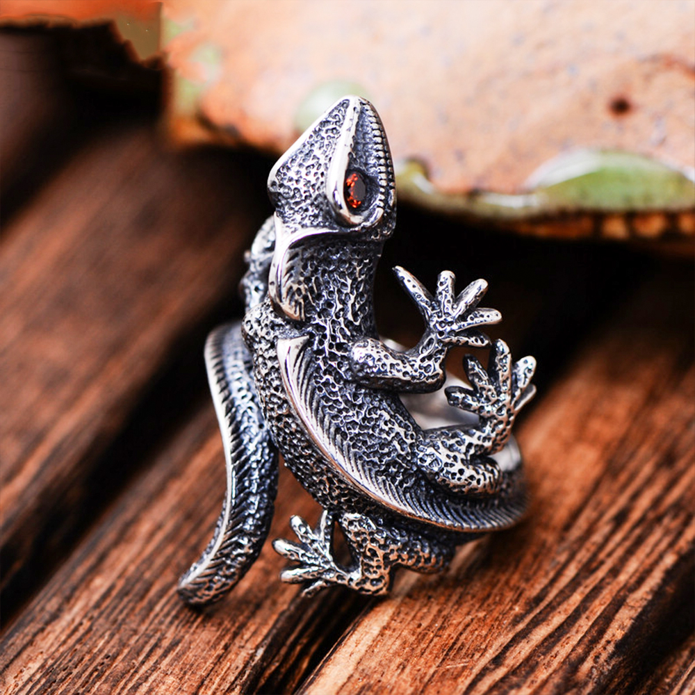 MetJakt Vintage Thai Silver Open Lizard Ring with Garnet Solid 925 Sterling Silver Ring for Personality