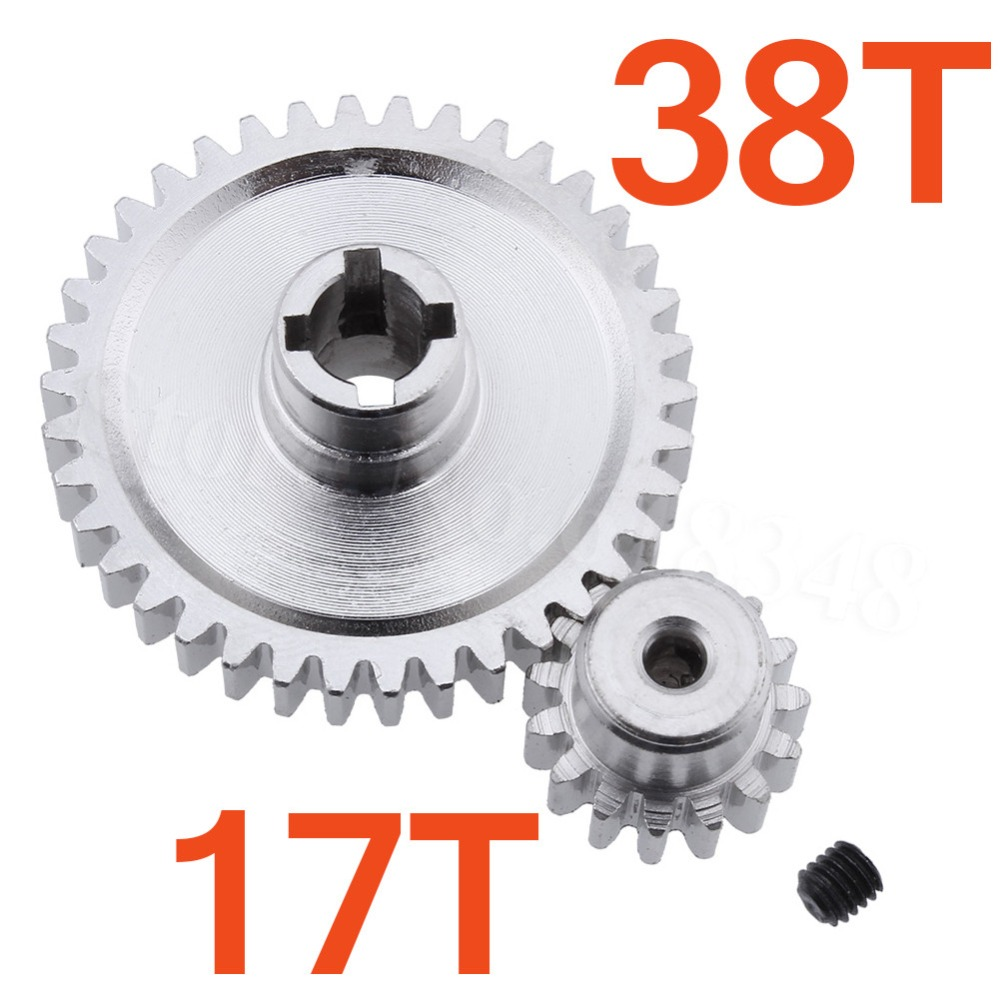 Steel Metal Diff Main Gear 38T & Motor Gear 17T For RC 1/18 WLtoys A949 A959 A949 A959 A969 A979 RC Car Buggy Truck HSP