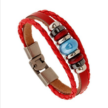 KYSZDL 2017 Vintage Cross Beads Handmade Woven Leather Bracelet Bangle For Women Men Jewelry Hip-hop Multilayer Warp