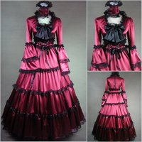 (GT011) New Arrival Women Half Sleeveless Gothic Victorian Lolita Prom Dress Ball Gown Fancy Dress Halloween Party Costume