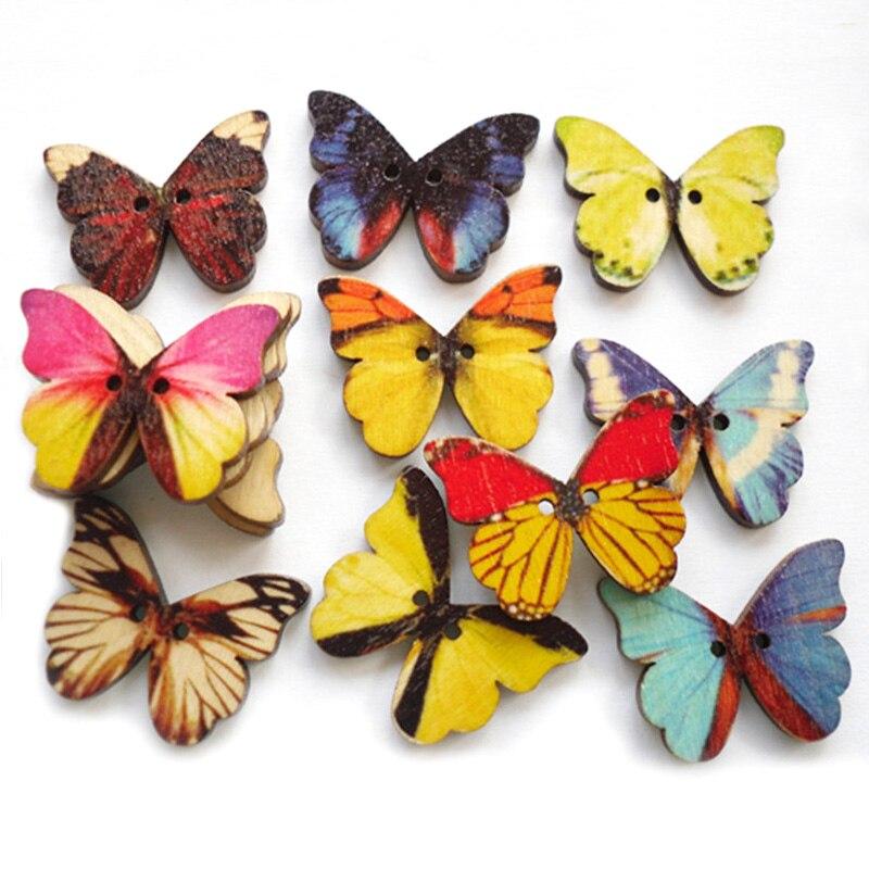 Butterflies Pack of 20 Wooden Buttons 15mm