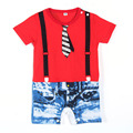 Lovely Toddler Baby Boy Button Down Romper Jumpsuit Set Newborn Kid Braces Suits New
