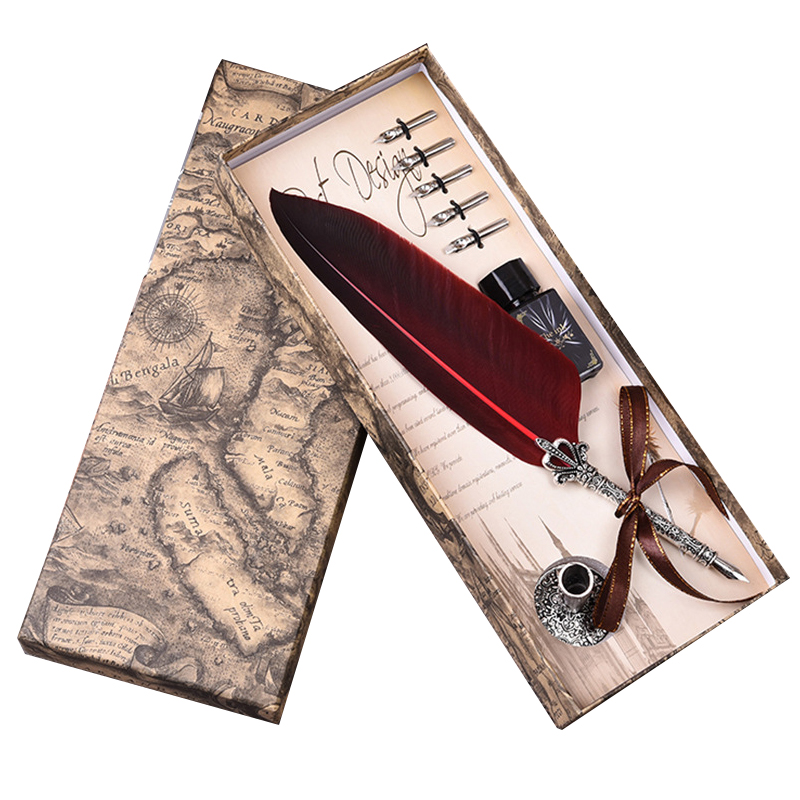 English Calligrap Feather Pen Set Vintage Advertising Gift  ink Pen Dip Water Metal Fountain Pen Set Birthday Gift Box 5 Nibs