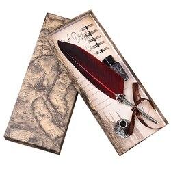 Inglês calligrap pena caneta conjunto de publicidade do vintage presente caneta tinta dip água metal fonte caneta conjunto aniversário presente caixa 5 nibs