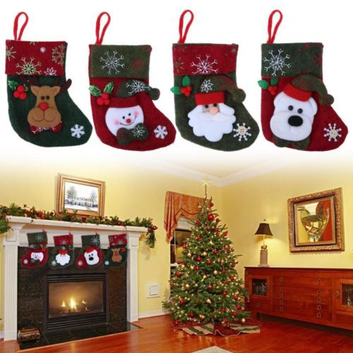 4Pattern Candy Bag Gift Pouch Christmas Xmas Snowman Elk Santa Claus Party Decor